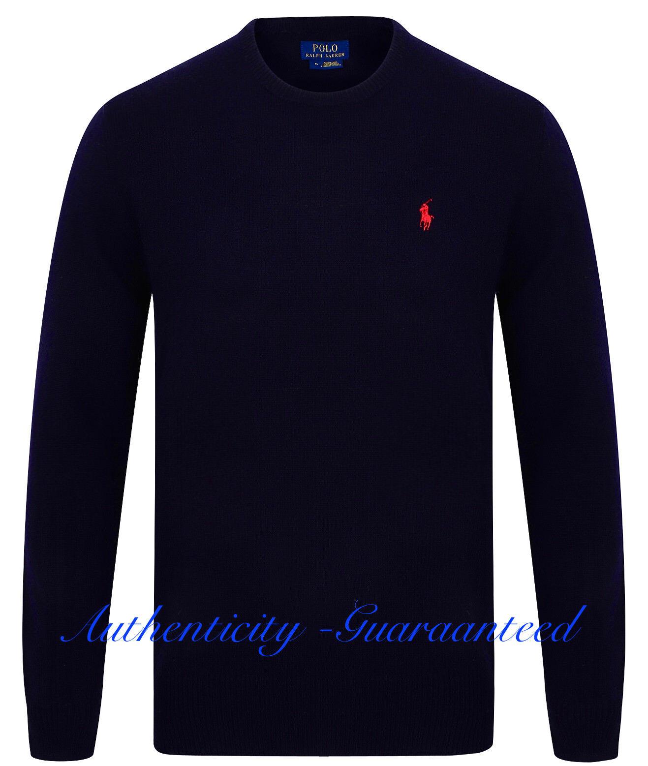 Ralph LAUREN uomo uomo uomo Lana D'Agnello Crew maglione a girocollo Blu Scuro Grigio M-XXL Prezzo Consigliato 7b925c