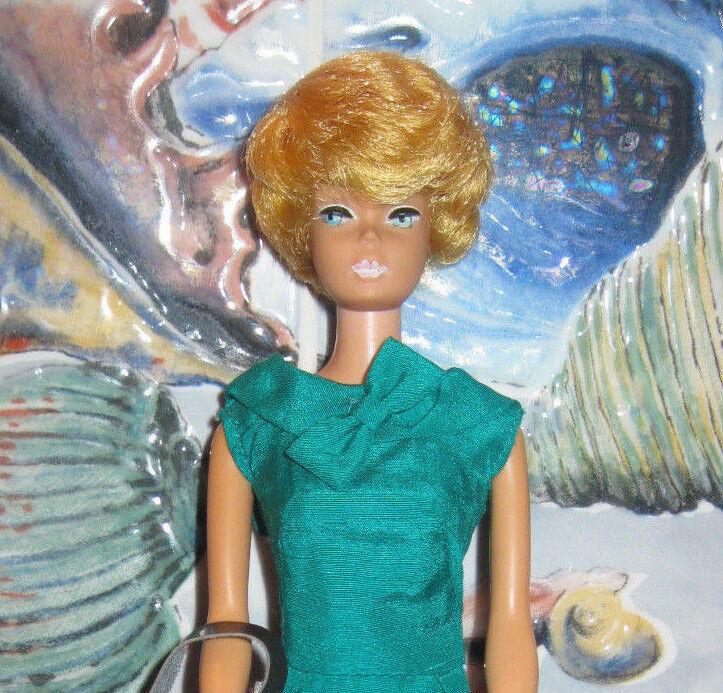 1962 precioso  Muñeca Barbie  Limón Bubblecut  natural+n. Perfecto  verde Seda Vaina  Tacones