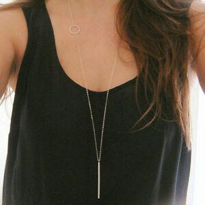 Women-Silver-Long-Chain-Lariat-Drop-Charm-Bar-Necklace-Jewelry-Pendant