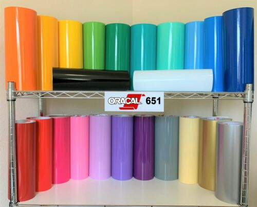 "Lote 5 rollos 12/"" x 24/""  Oracal 651 manualidades stickers vinil brillante vinilo"