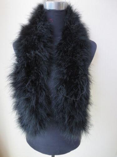 Livraison gratuite 100/% Autruche Plume Noir écharpe fourrure taille 110 CM*14 cm