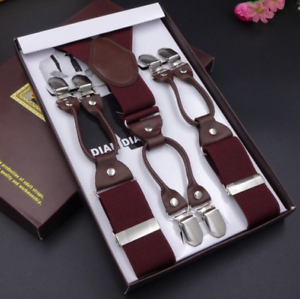 Deluxe 6 Clip Men/'s Suspenders Hot /& Modern