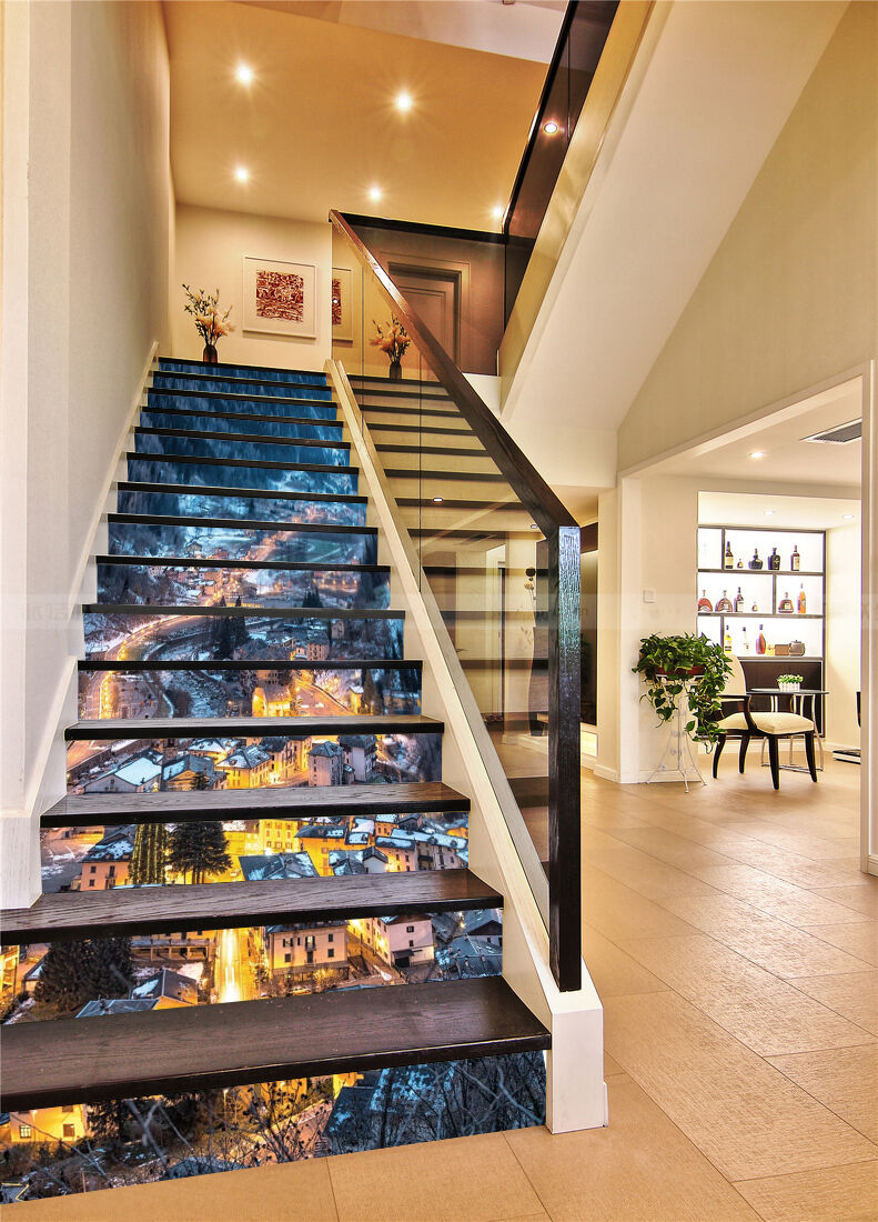 3D Mountain Town 23 Stair Risers Decoration Photo Mural Vinyl Decal Wallpaper AU