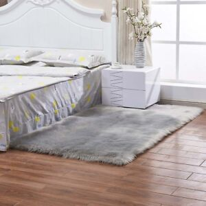 Home-Bedroom-Fluffy-Mat-Anti-Skid-Area-Floor-Rug-Shaggy-Plush-Soft-Carpet-Grey