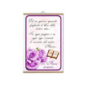 25 Matrimonio Anniversario.Locandina Parete 30x20 Cm Scritta 25 Anni Anniversario Matrimonio