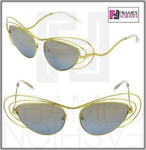 c6151a363c6 LINDA FARROW ERDEM Cat Eye Metal Wire Yellow Silver Mirrored EDM2 ...