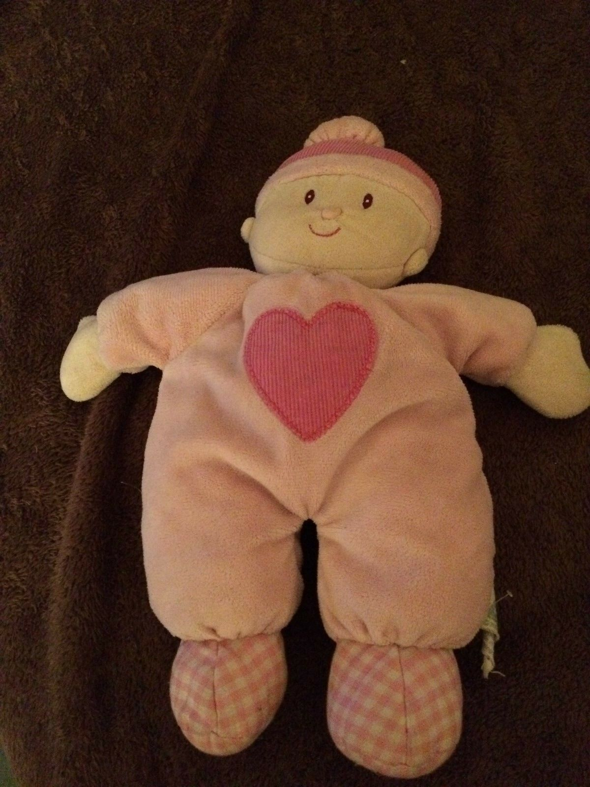 2006  ELC   PINK BABY DOLL WITH RATTLE INSIDE  HEART ON FRONT