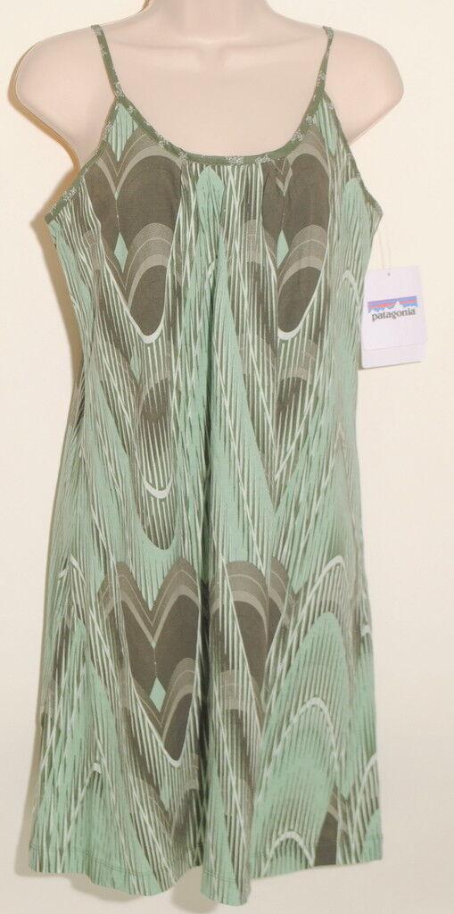 Patagonia Women's Sz Small Green Feathering Break Dress Organic  79 NWT'S C1E