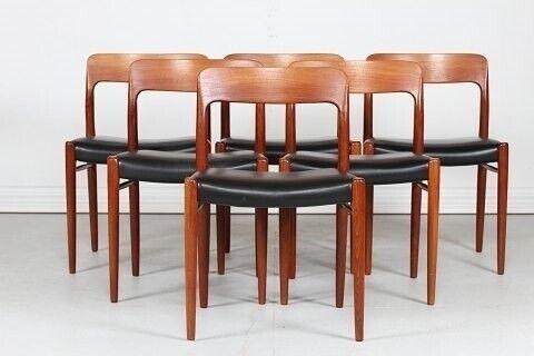 N. O. Møller   6 stole nr. 75 fremstillet af..., N. O.