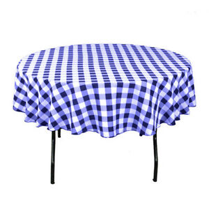 Ordinaire Image Is Loading Checkered Tablecloth Round 58 Inch Navy Blue By