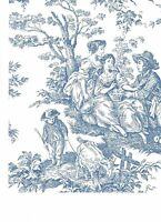 Waverly Blue Colonial Toile On White Wallpaper Wa7830
