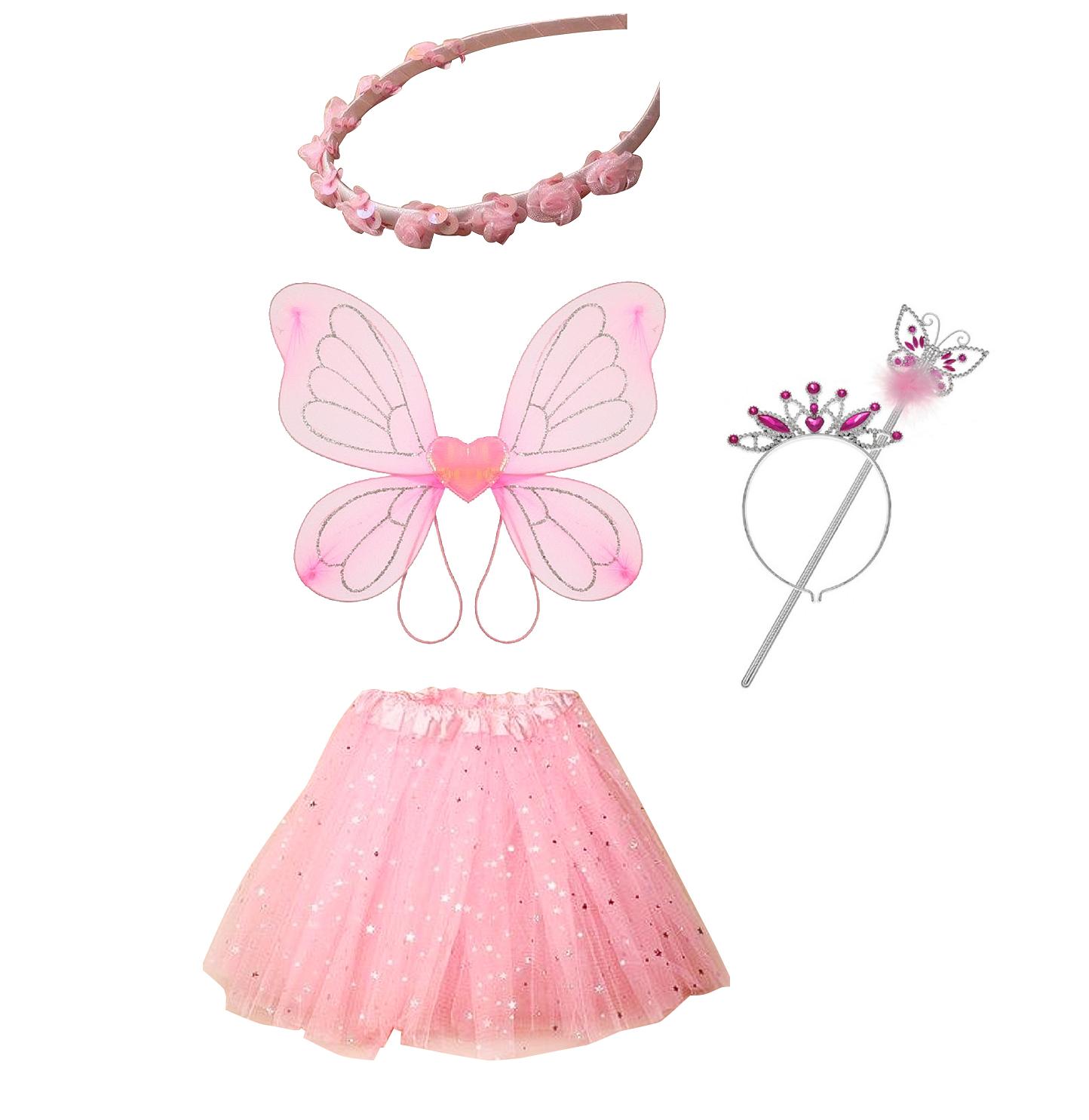 Princess Tiara Wand Fairy Wings Tutu Skirt Party Dress Play Costume Girls Kids