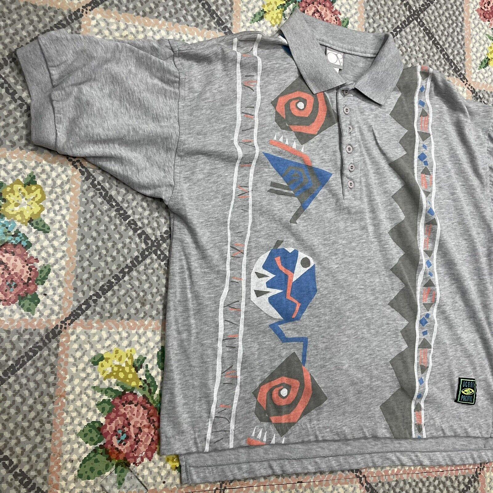 Vintage 80s Ocean Pacific Gray Polo Tribal Design… - image 2
