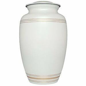 ADULT WHITE & GOLD CREMATION URNS, LARGE NEW FUNERAL URN FOR HUMAN ASHES