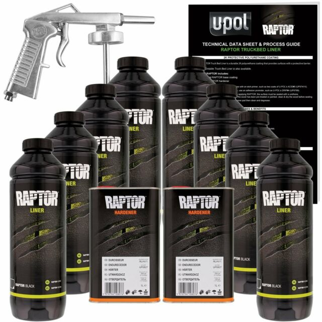 U-POL Raptor Black Urethane Spray-On Truck Bed Liner Kit w/ FREE Spray Gun, 8 Li