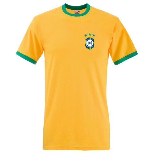 Brazil 1974 Retro Football Shirt Classic Badge Ringer T-Shirt to XXL