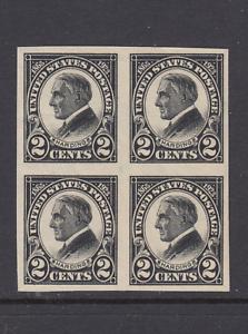US-Sc-611-MNH-1923-2c-black-imperf-Harding-Memorial-block-of-4-gum-crease