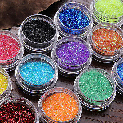 12 Colors Nail Art Glitter Dust Shimmer Metal Powder UV Gel Acrylic Decoration
