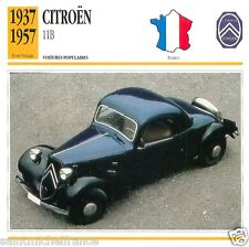 CITROËN 11 B 1937 1957 CAR VOITURE FRANCE CARTE CARD FICHE 2