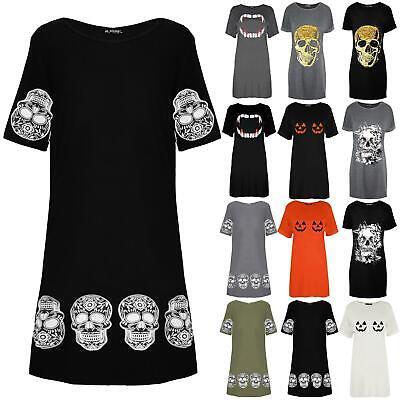 Womens Ladies Oversized Floral Skull Skeleton Pumpkin Halloween T-Shirt Dress
