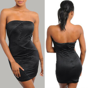 f3b66dfd3a4e Image is loading Stretch-bodycon-above-knee-mini-strapless-dress-pintuck-
