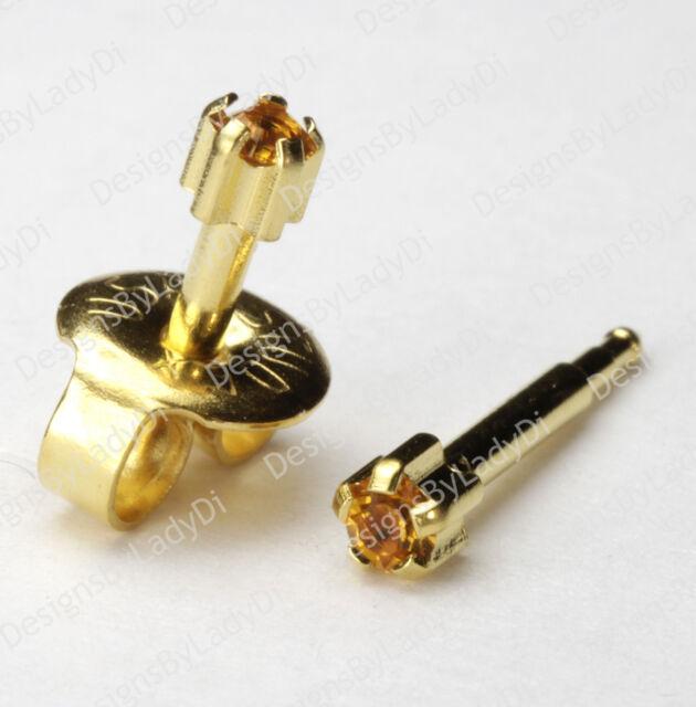 Mini 3mm Gold November Pronged Gem Studex Ear Piercing Earrings Hypoallergenic