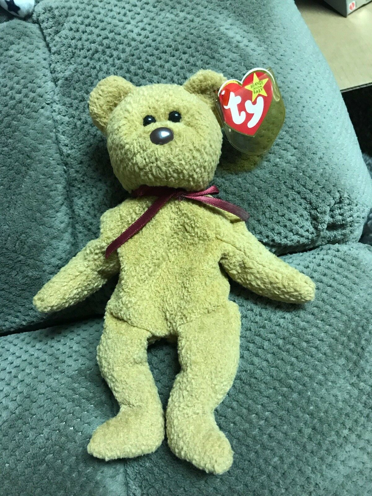 RARE RETIRED CURLY THE BEAR ORIGINAL BEANIE BABY TY WITH TAG ERRORS