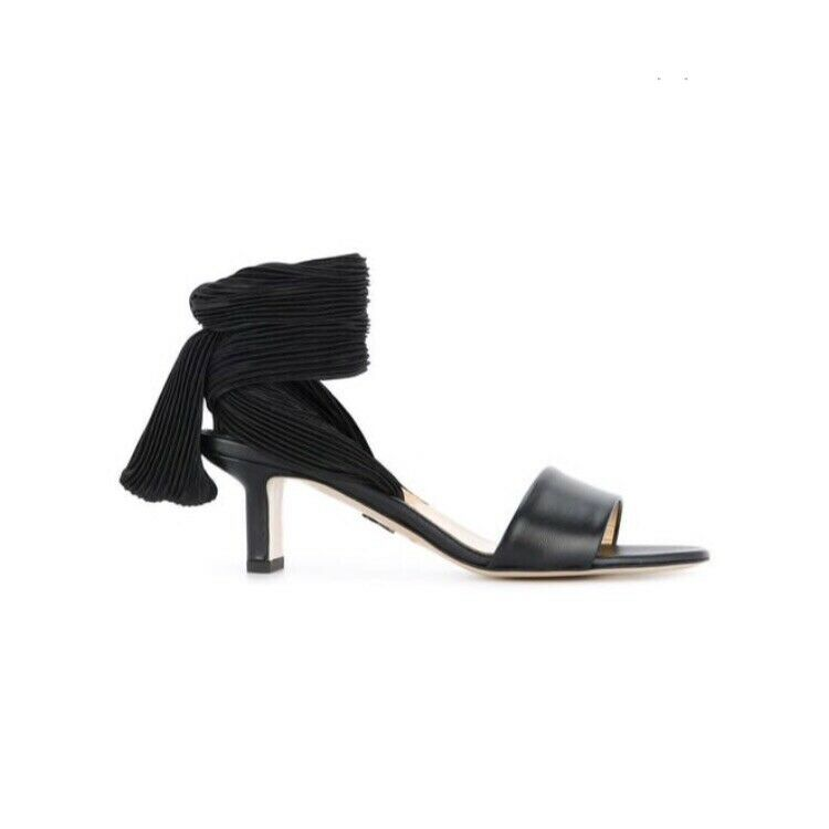 Paul Andrew Women's Pleated Lace Up Strap Sandals In Black Size 36  745 NWOB