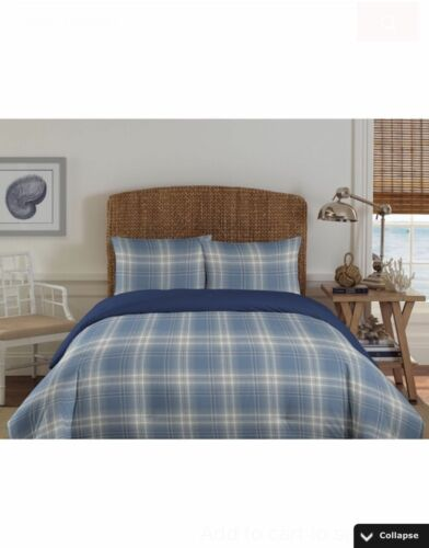 NEW! 3pc Nautica Grovedale Blue Striped Plaid Comforter & Sham Set TWIN SIZE