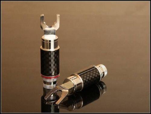 2 Pairs MS Audio Carbon Housing Rhodium Plated Tellurium speaker Spade plugs