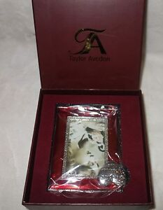 Taylor Avedon collectible Enamel Photo Picture Frame red slv new + box