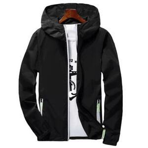 Men-039-s-Windbreaker-Waterproof-Jacket-hoodie-Light-Sports-Outwear-Coat-Gym-New
