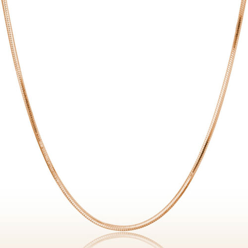 2 Pcs Rose Gold Plated Silver Thin Italian Snake Sahped Chain Necklace UK