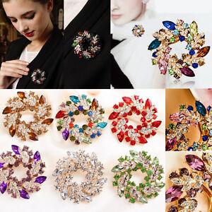 Vintage-Gold-Alloy-Rhinestone-Crystal-Flower-Wedding-Bridal-Bouquet-Brooch-Pin
