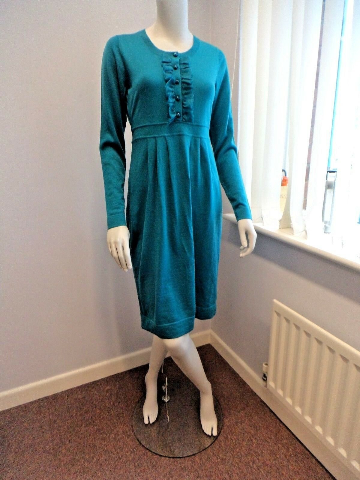 ex BODEN pure merino wool knitted TURQUOISE Ruffle Dress UK Größe 10 14 16 R L
