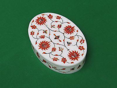 Marble Jewelry Box Inlay Art Semi Precious Stone Pietra Dura Handmade Home Decor For Gift.