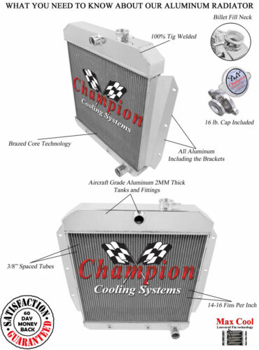 1955 1956 1957 1958 1959 Chevy 3100 Pickup Truck 3 Row Champion WR Radiator