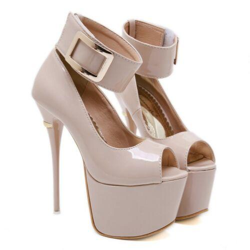 Womens Peep Toe High Heels Stilettos Ankle Strap Platform Buckle Sandals Shoes D