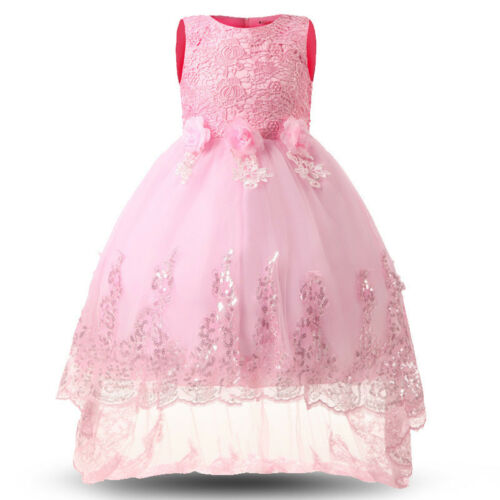 Kids Floral Pageant Trailing Dress Birthday Parties Wedding Bridesmaid Prom Gown