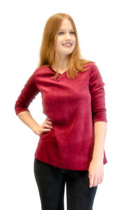 Vivian-039-s-Fashions-Top-Velour-V-Neck-3-4-Sleeve-Top