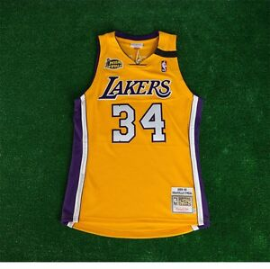 a4b0ff120 1999-00 Shaquille O Neal LA Lakers MITCHELL   NESS Authentic Gold ...