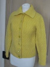 Retro Yellow thick wool button down with collar knit cardigan jacket S