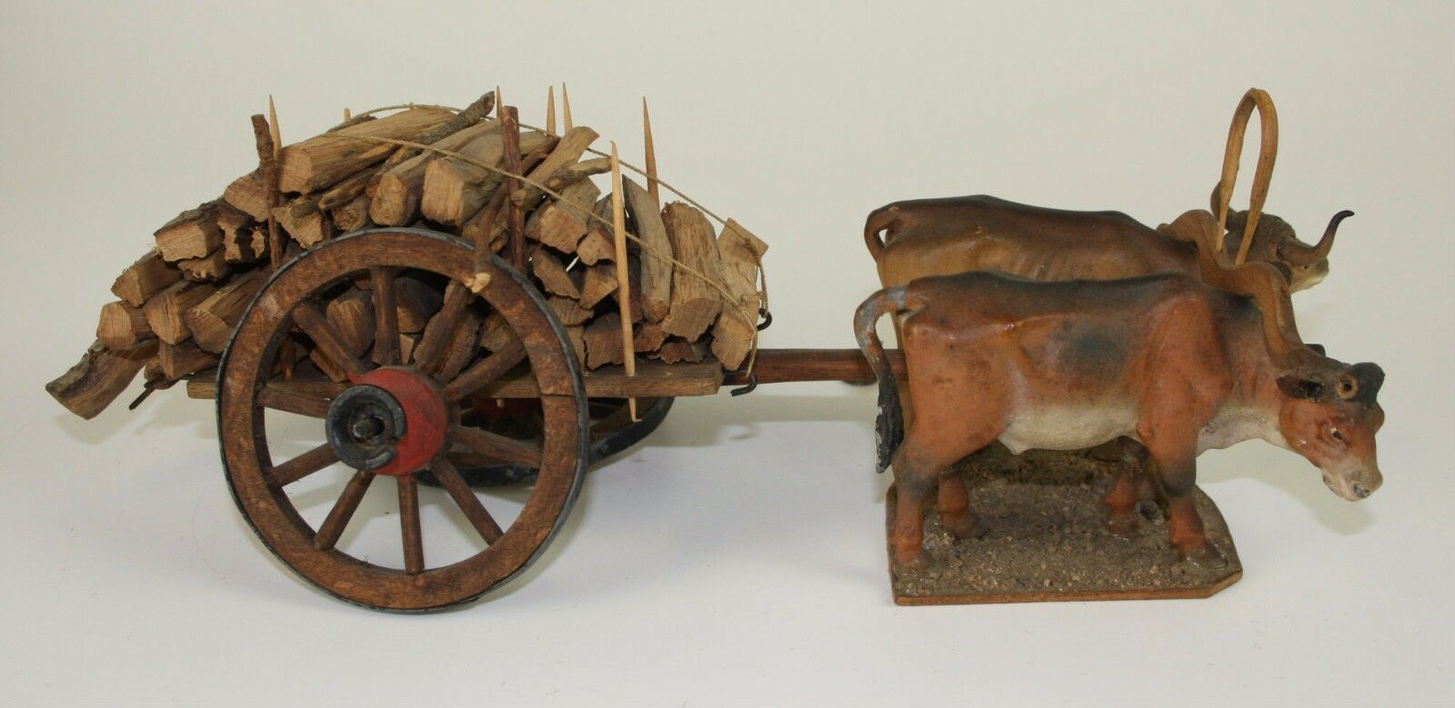 FIREWOOD CART PULLED BY OXEN - WOOD WOOD WOOD AND TERRACOTTA - 19TH CENTURY - 565  b49