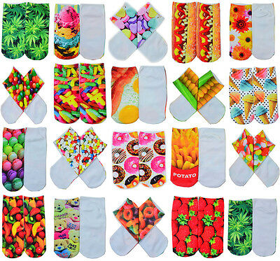 Cute Casual Unisex 3D Foods&Flowers Printed Low Cut Ankle Socks Multiple Colors