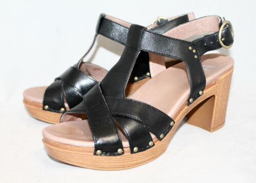 Details about  /DANSKO Daniella T-Strap Block Heel Sandal Wo/'s 9.5-10 Eur 40 Black Leather