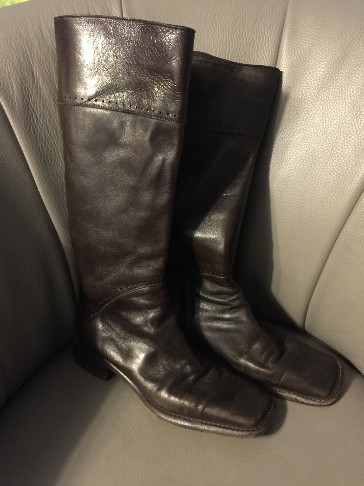 CoStume National Brown Leather Boots Side Zipper Made In   38  7.5