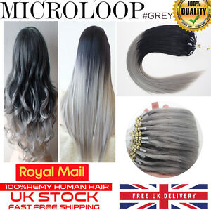 16 22 grey ombre dip dye 1g remy micro loop ring human hair image is loading 16 034 22 034 grey ombre dip dye solutioingenieria Choice Image