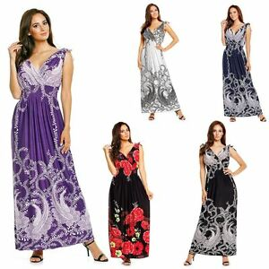 c8f7652893aaf Ladies Floral Vines Print Summer Beach Casual Holiday Maxi Day Dress ...