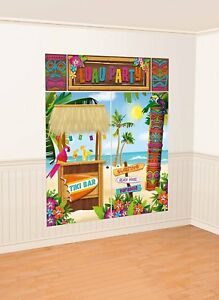 LUAU-PARTY-SCENE-SETTER-Wall-Backdrop-Decorations-TIKI-Hut-BAR-Hawaiian-Beach