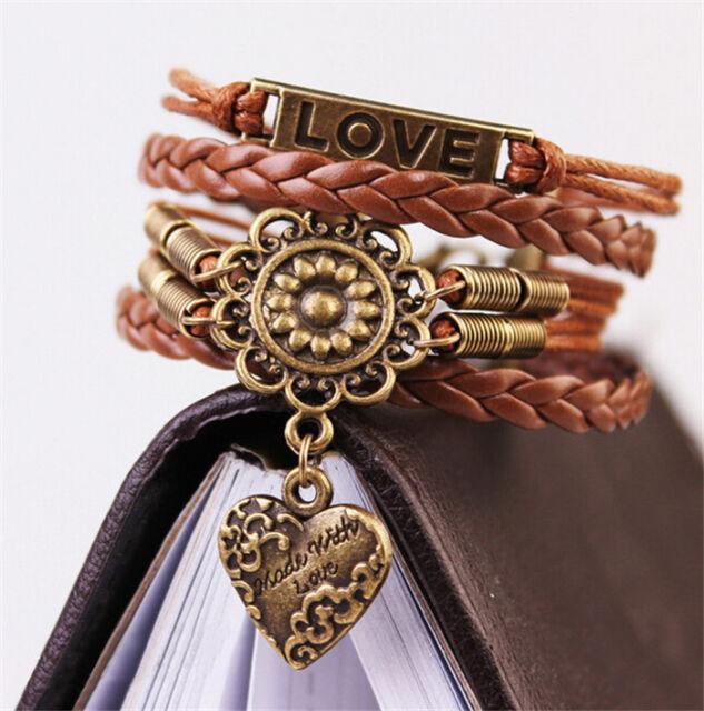 Infinity LOVE Heart Flower Friendship Vintage Copper Leather Charm Bracelet Gift